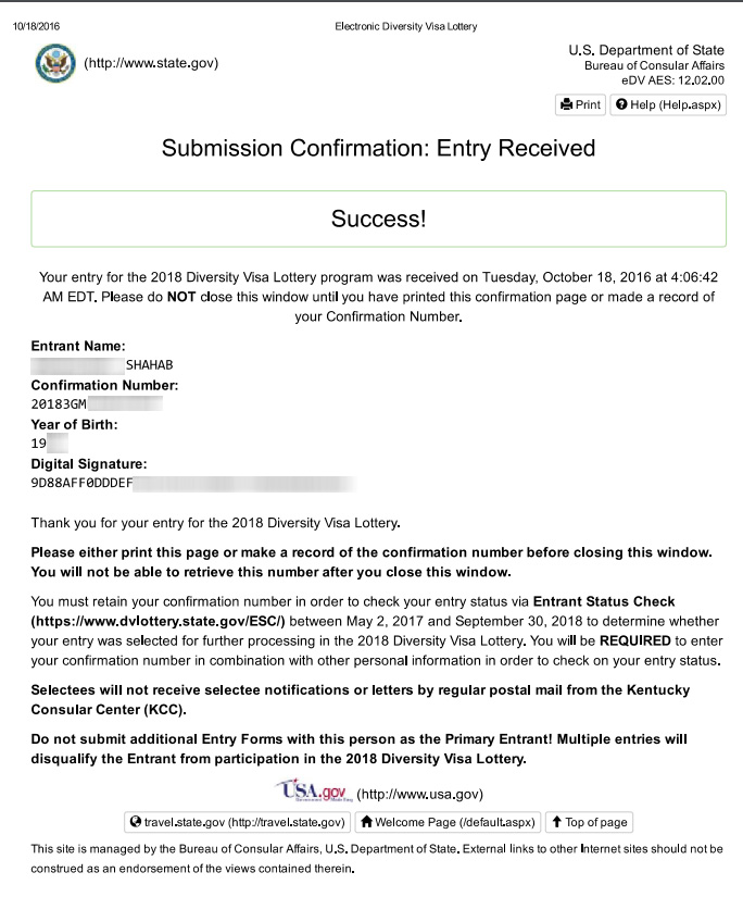 DV-Lottery Success Confirmation